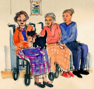 Artist rendition of a therapy dog with people in wheelchairs.